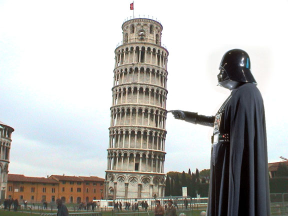 Vader with leaning tower of Piza